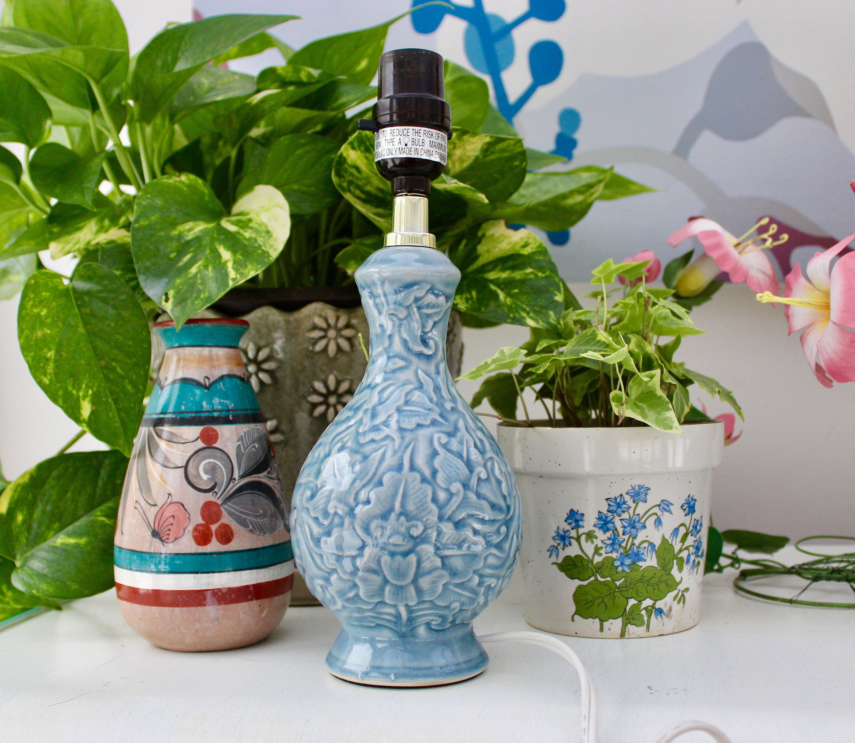 vintage blue ceramic lamp table small fullxfull accent pottery style decorative kitchen knobs and pulls farm end tables outdoor umbrella stand weights butcher block countertop