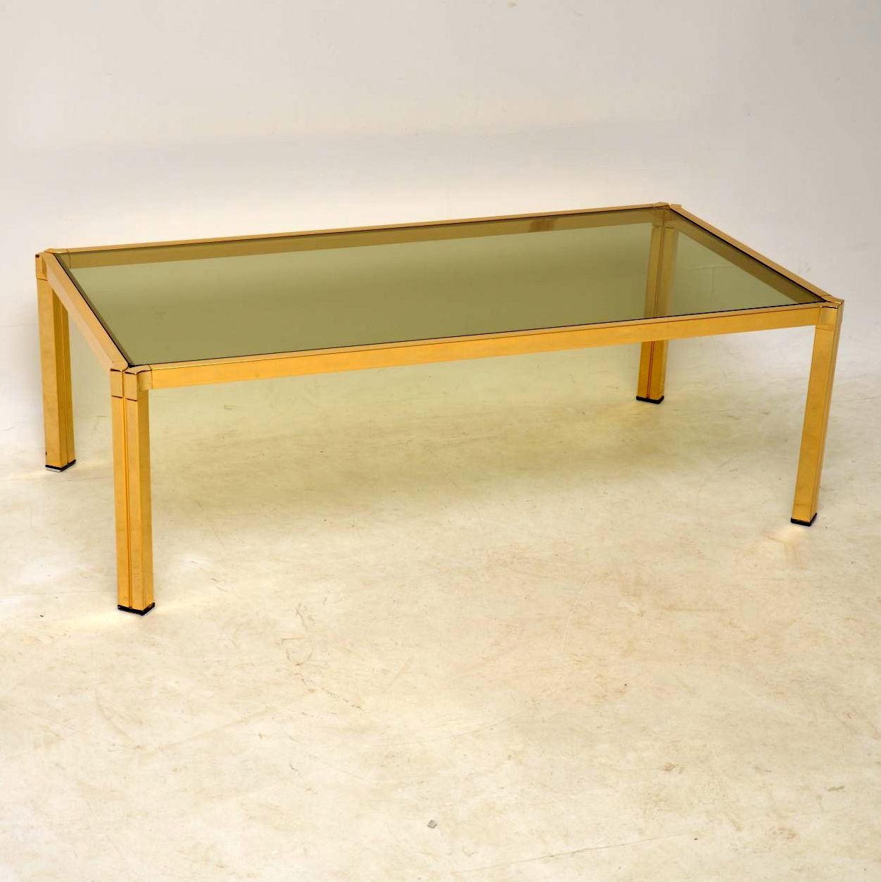 vintage brass coffee table retrospective interiors end black glass top round concrete reclaimed wood set very narrow accent butterfly chair make butcher block cutting board bar