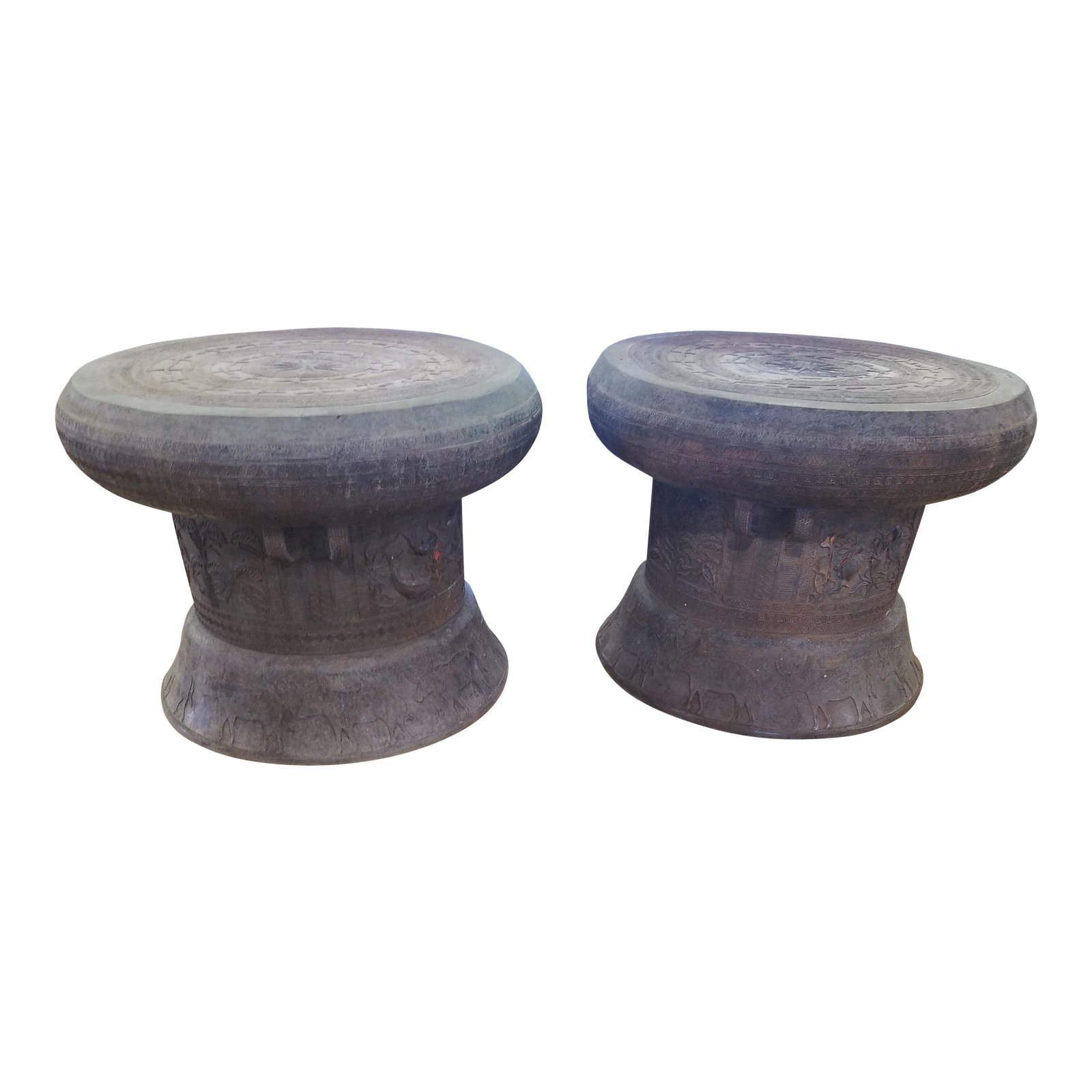 vintage bronze rain drums pair chairish drum accent table outdoor mosaic bistro set target dining bench behind sofa victorian furniture corner writing desk marble stone cool