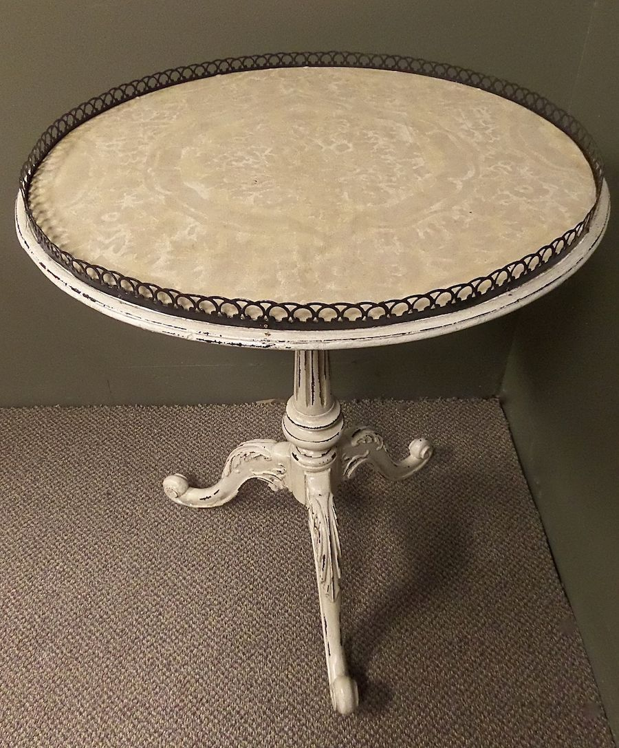 vintage carved mahogany round shabby cottage chic accent table white french style painted creamy distressed finish hand applied decorative top farmhouse dining and chairs dark