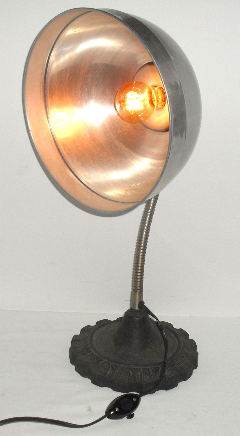 vintage cast iron gooseneck desk accent lamp industrial art deco miniature table lamps purposed heat light parabolic aluminum reflector with amber spiral bulb vintageroyaltreasure