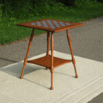 vintage checkerboard table wooden game decorative gold brown fullxfull accent side parlor wood radio stand mid century furniture coral color decor round white metal outdoor living 150x150
