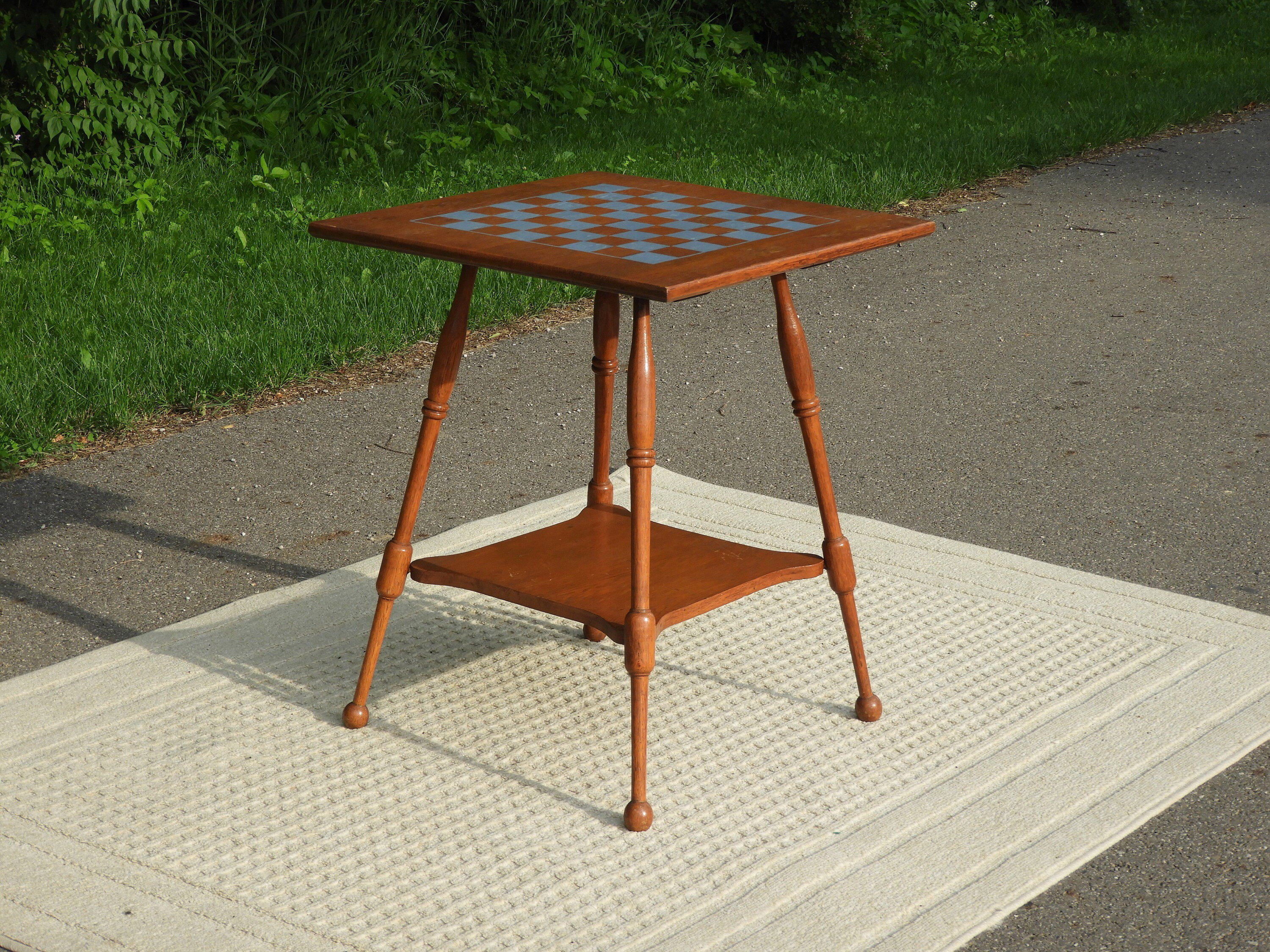 vintage checkerboard table wooden game decorative gold brown fullxfull accent side parlor wood radio stand mid century furniture coral color decor round white metal outdoor living