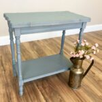 vintage end table blue side distressed furniture sofa small accent tables living room leather lounge chair circle dining set square metal desk legs attic heirlooms ikea tall grey 150x150