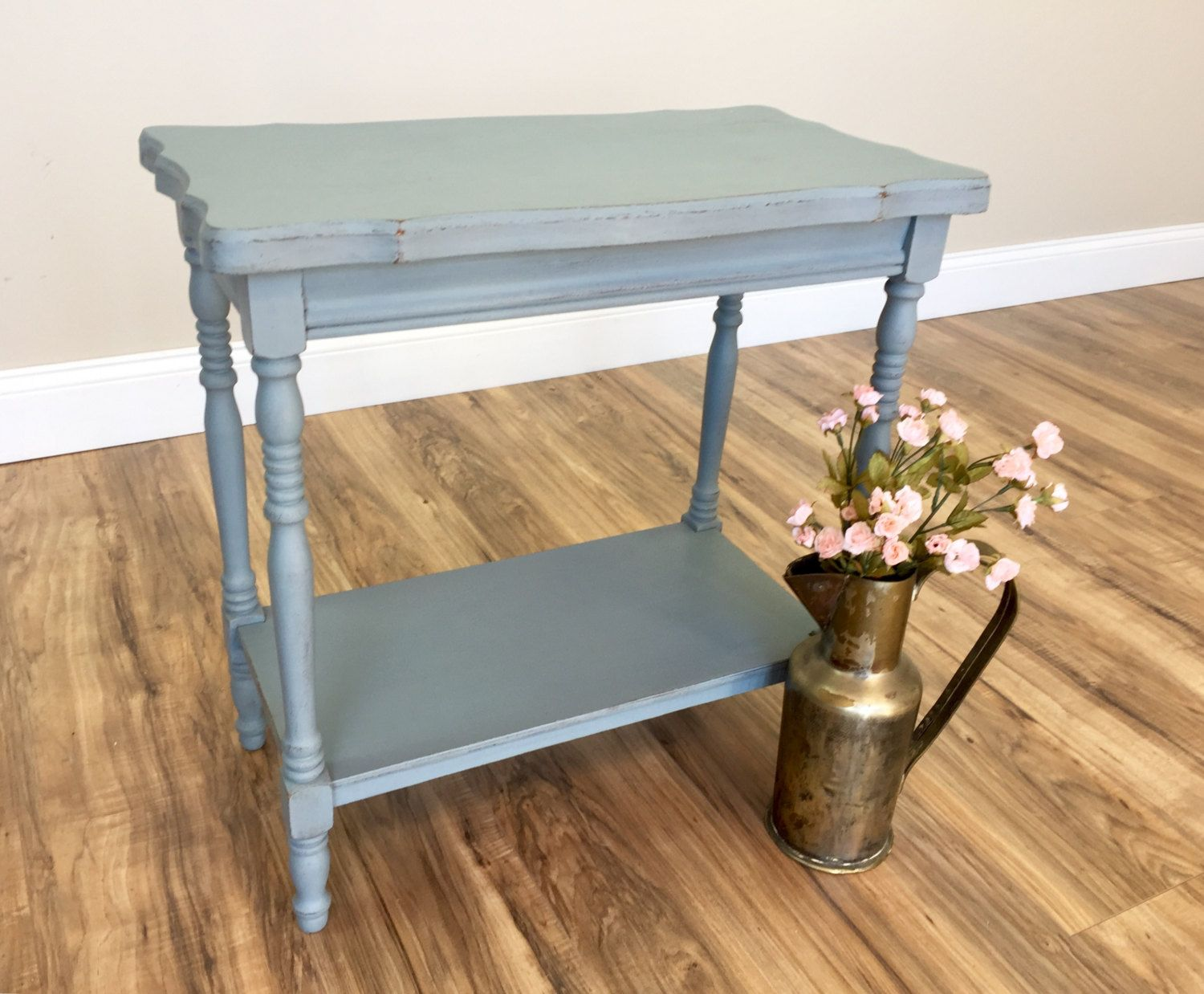vintage end table blue side distressed furniture sofa small accent tables living room leather lounge chair circle dining set square metal desk legs attic heirlooms ikea tall vita