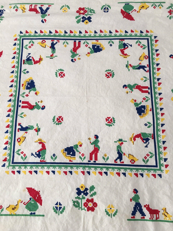 vintage folk art linen tablecloth colorful accent table dutch fabric scandinavian adjustable drum stool stands rattan patio set ikea storage shelves with bins entrance way tables