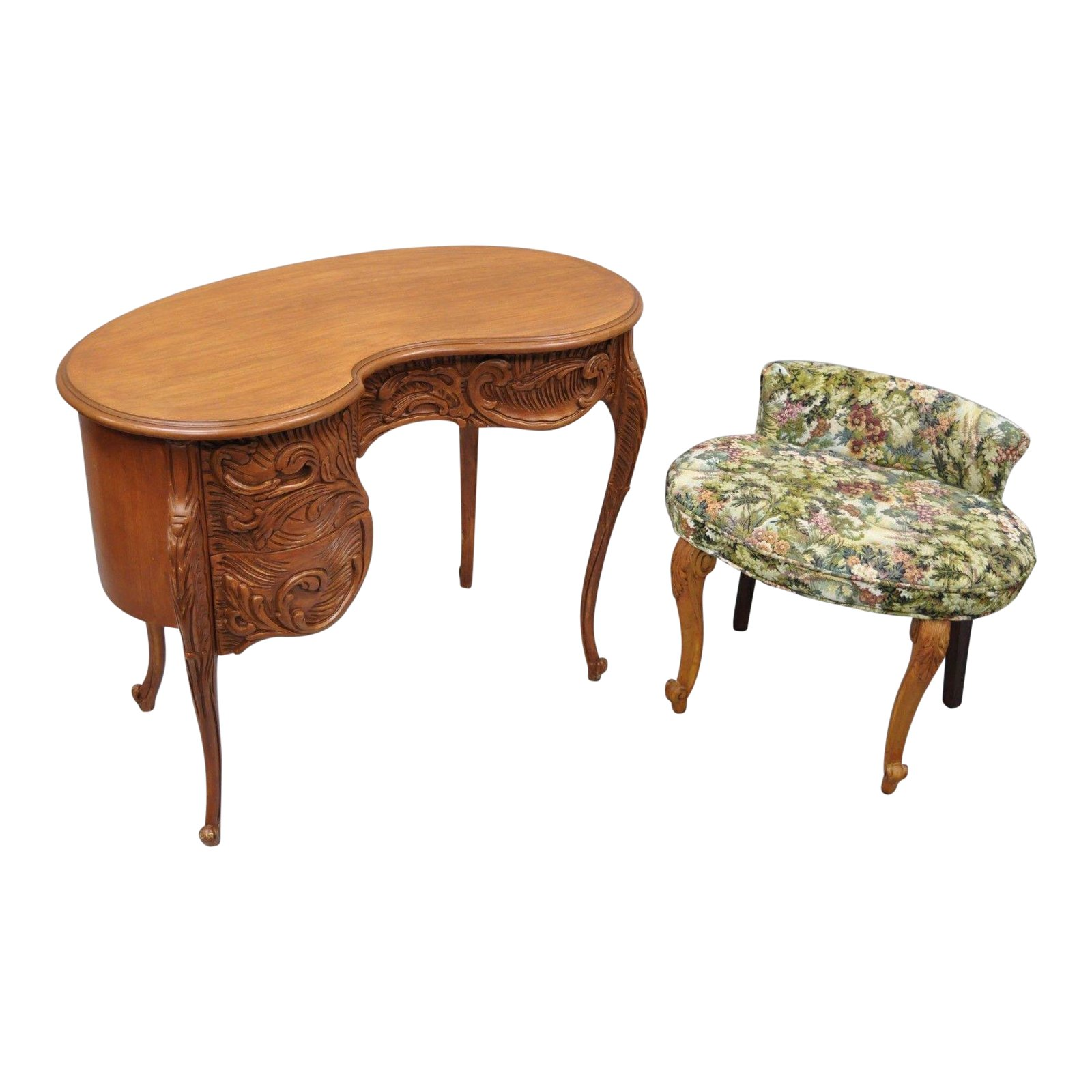 vintage french baroque style kidney bean shaped vanity desk bench and chair accent table chairish simple lamp bunnings outdoor furniture set acrylic chairs razer ouroboros gaming