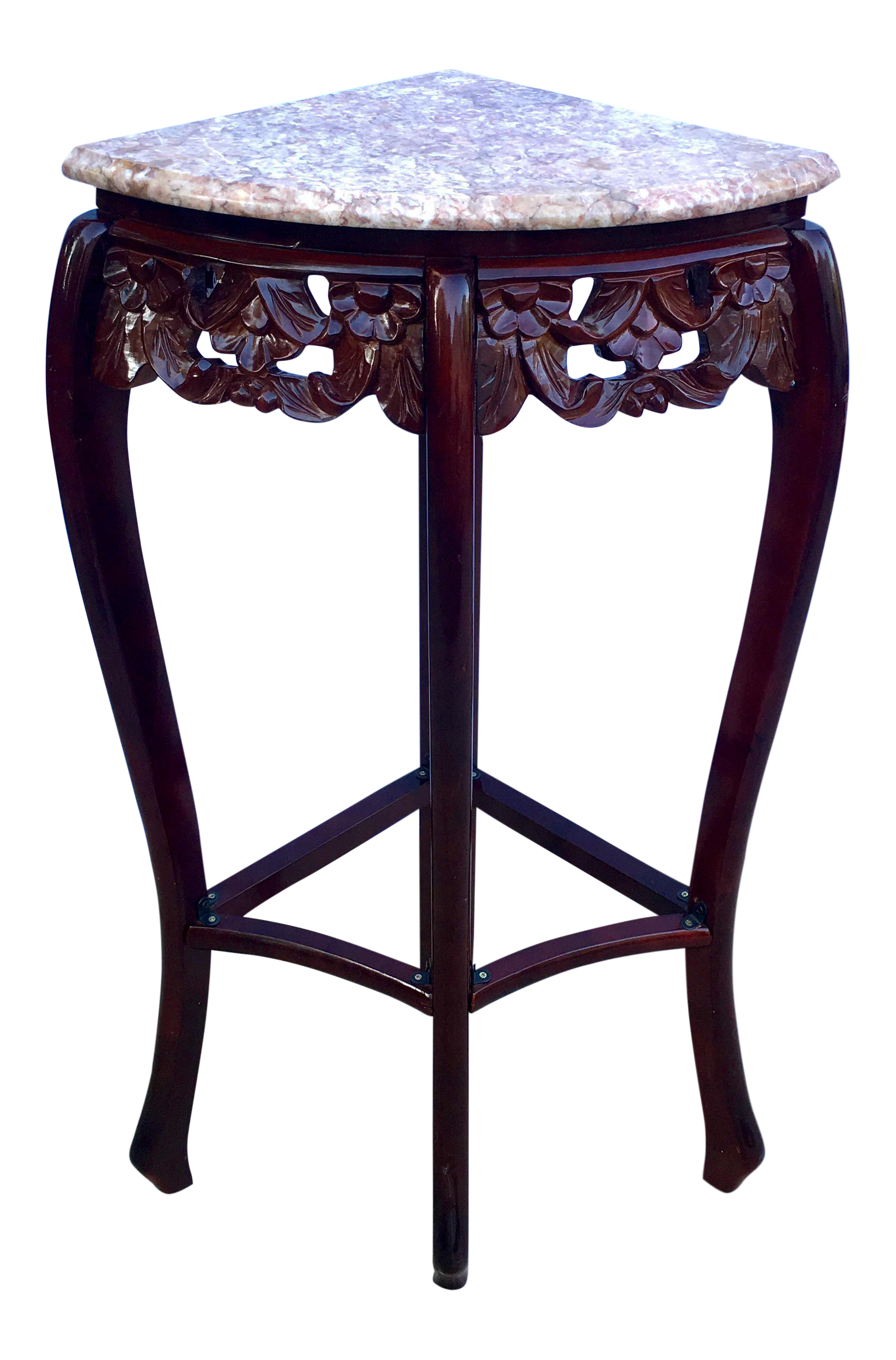 vintage french style pink marble rosewood quarter round corner and table accent chairish ikea garden shelf nice design tea inch tablecloth tools living room sets house interior