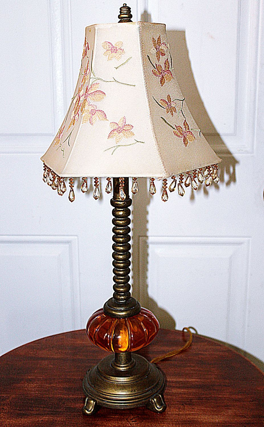 vintage glass base accent table lamp beautiful embroidered lamps shade spiral shaft standard bulb watt max very pretty queenieseclectic homebase outdoor furniture long bar and