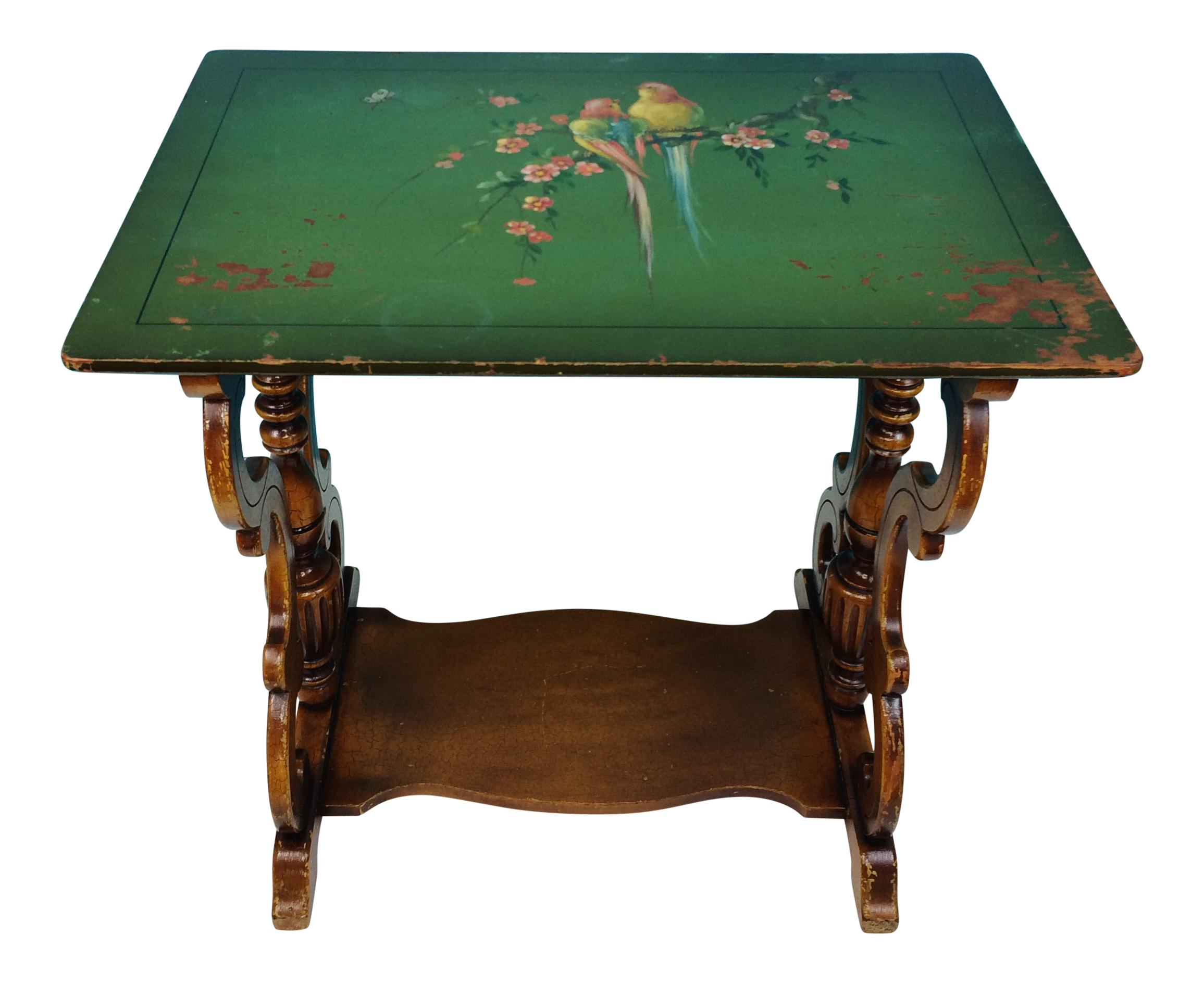 vintage hand painted bird motif wooden accent table chairish wood modern glass coffee designs inexpensive console monarch grey piece set patio furniture las vegas big umbrellas