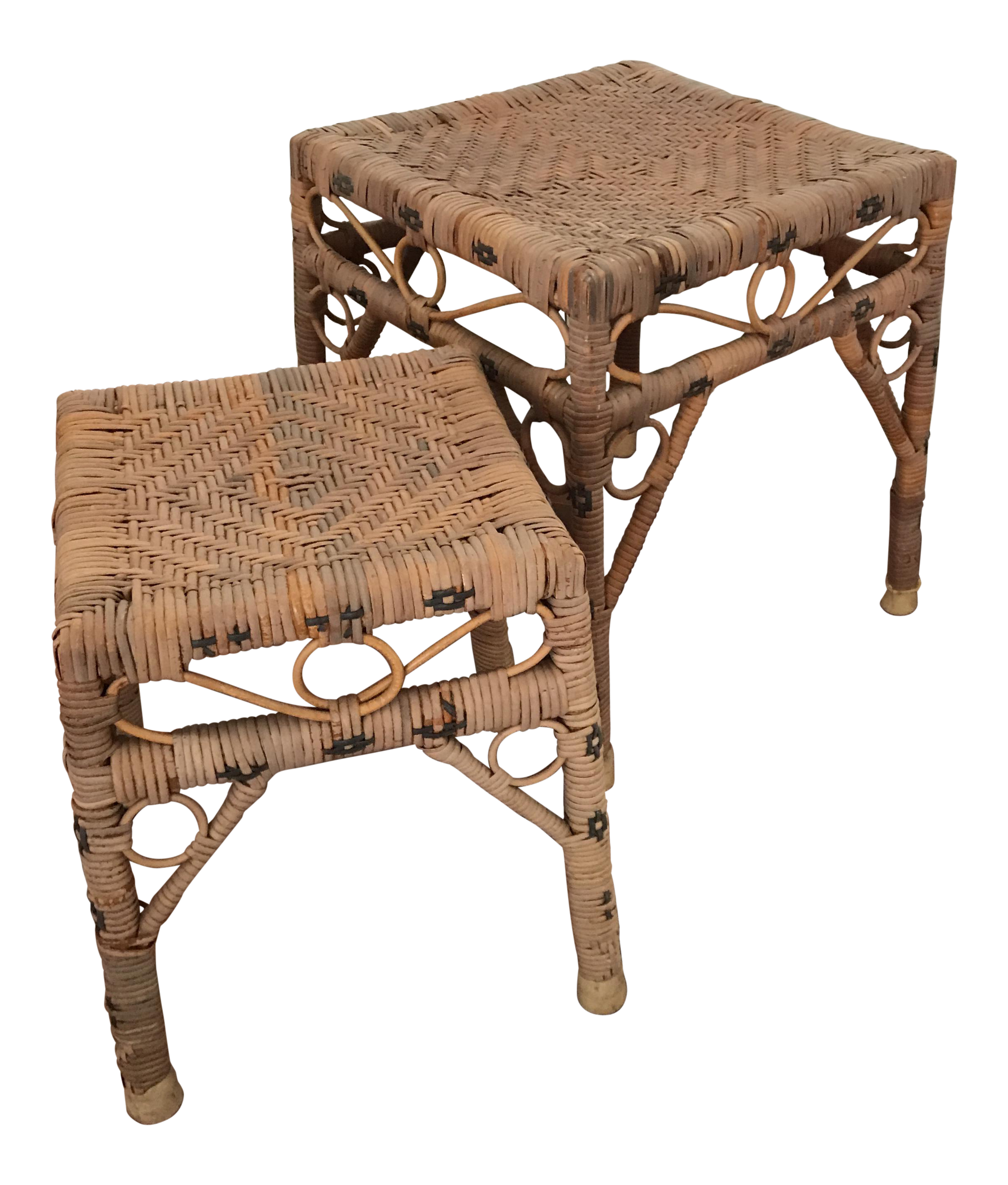 vintage hand woven rattan accent tables pair chairish metal table three coffee all modern furniture autumn runner quilt patterns poolside bunnings outdoor cover mat narrow side