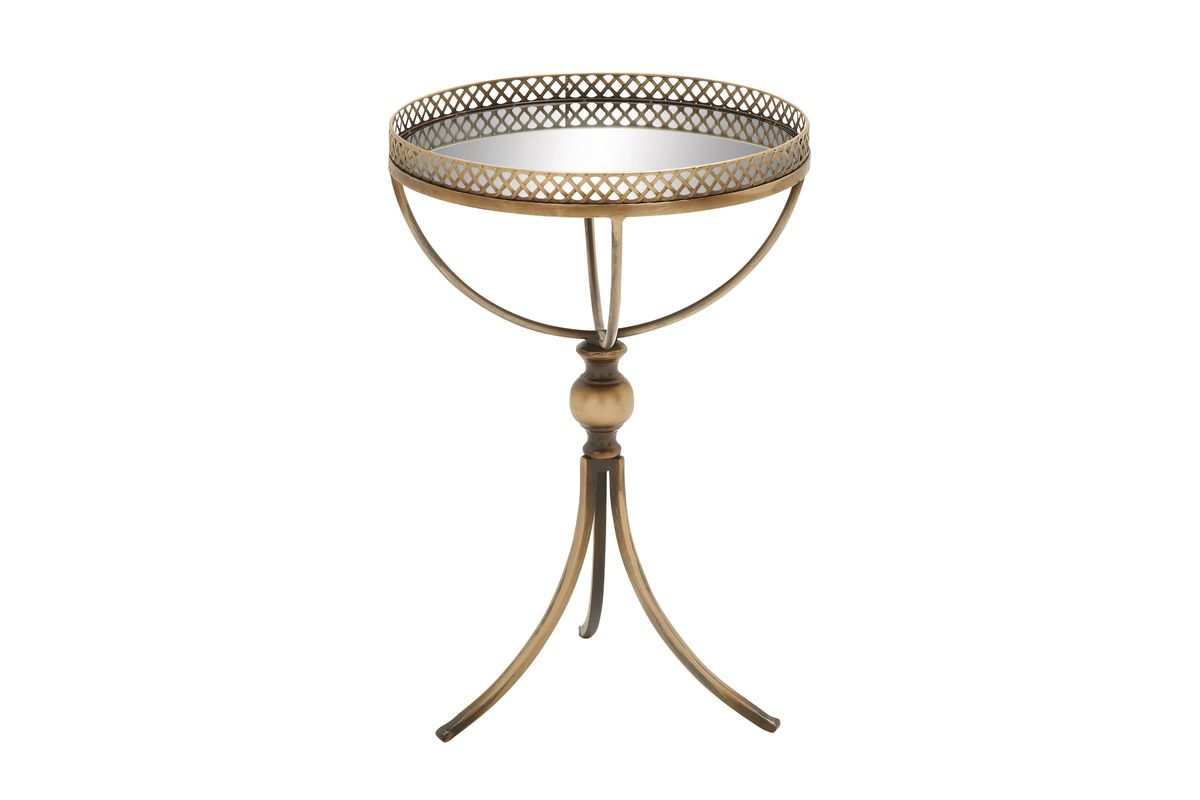 vintage industrial mirror top round accent table oil rubbed gold from gardner contemporary dining room modern console with drawers safavieh couture kitchen diner sofa and loveseat