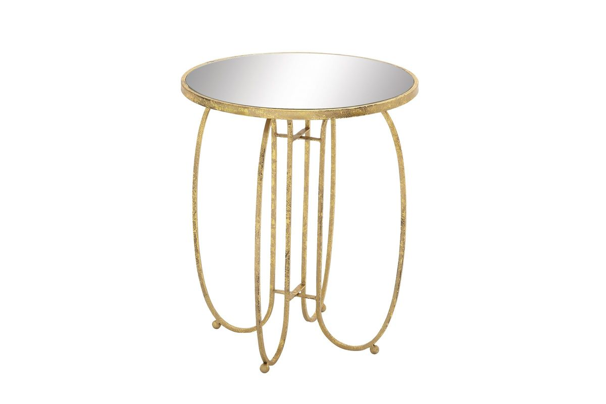 vintage industrial mirror top round accent table pale gold from gardner white furniture simple console contemporary dining room kitchen diner small wrought iron outdoor side ethan