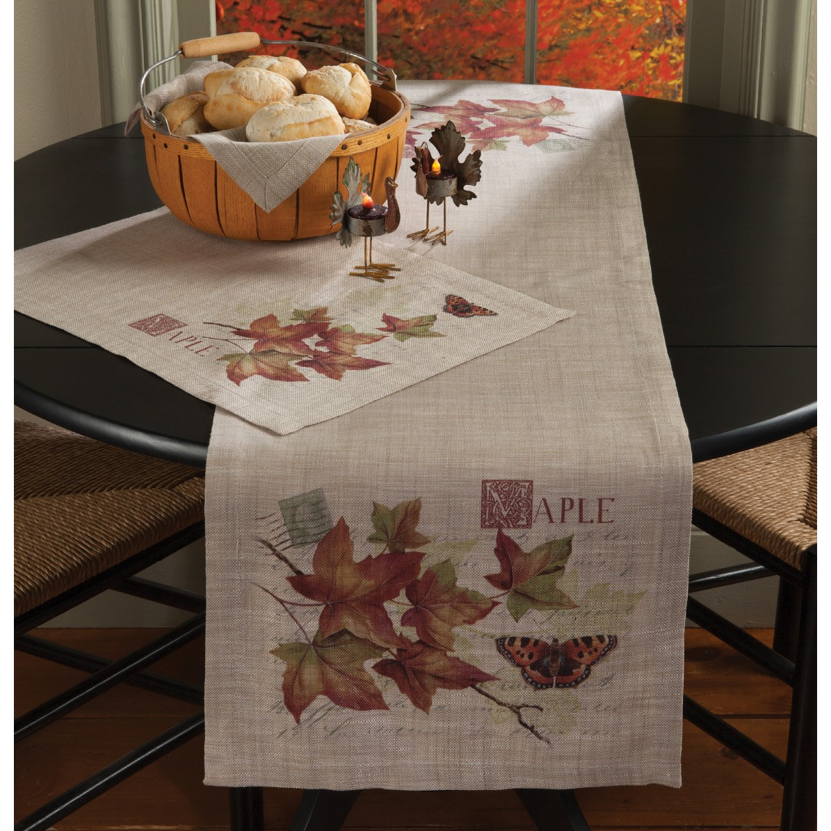 vintage inspired maple and butterfly fall table settings placemat runner lifestyle accent autumn tabletop accents wicker lawn furniture cast aluminum side gold glass nautical post