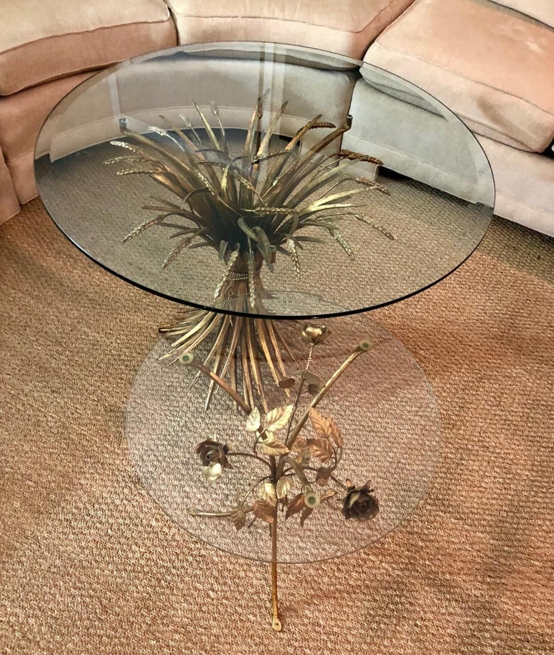 vintage italian toleware gold gilt rose accent table glass top antique faceted with hollywood regency large round cover west elm lamp shades marble and brass end decorative chairs