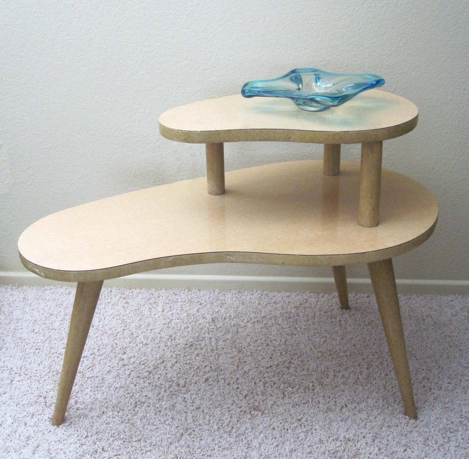 vintage kidney shaped tier end table retro blonde wood accent target grandparents had one these their basement pottery barn decor architect lamp ethan allen glass top coffee hand