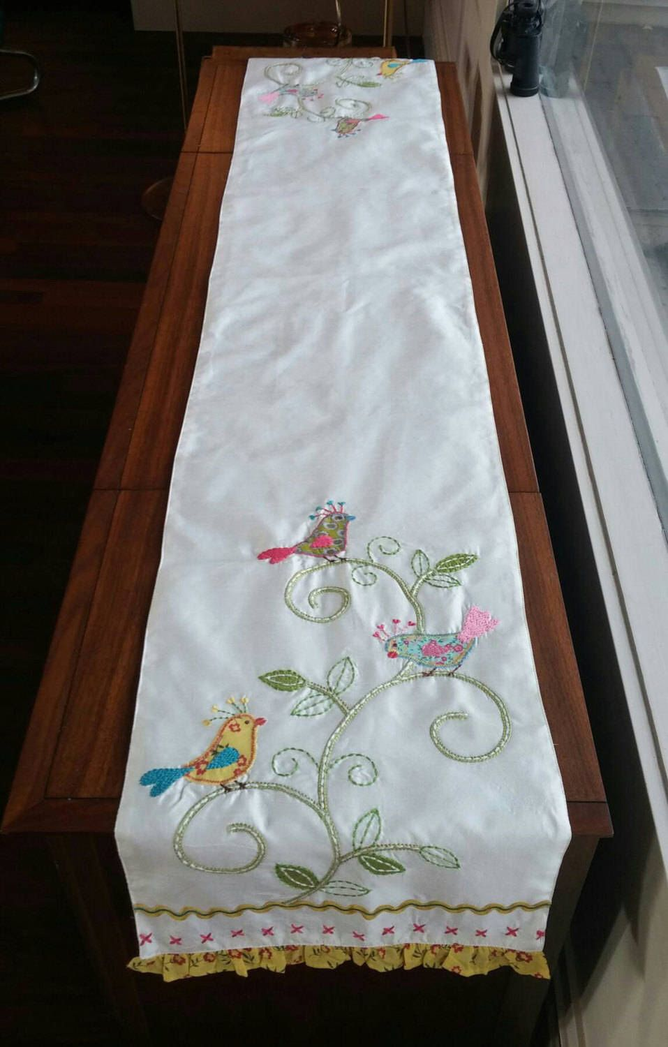 vintage linen table runner embroidered birds artistic accents tablecloth spring tablecloths bird antique items antiques runes glass patio end sheesham better homes and gardens