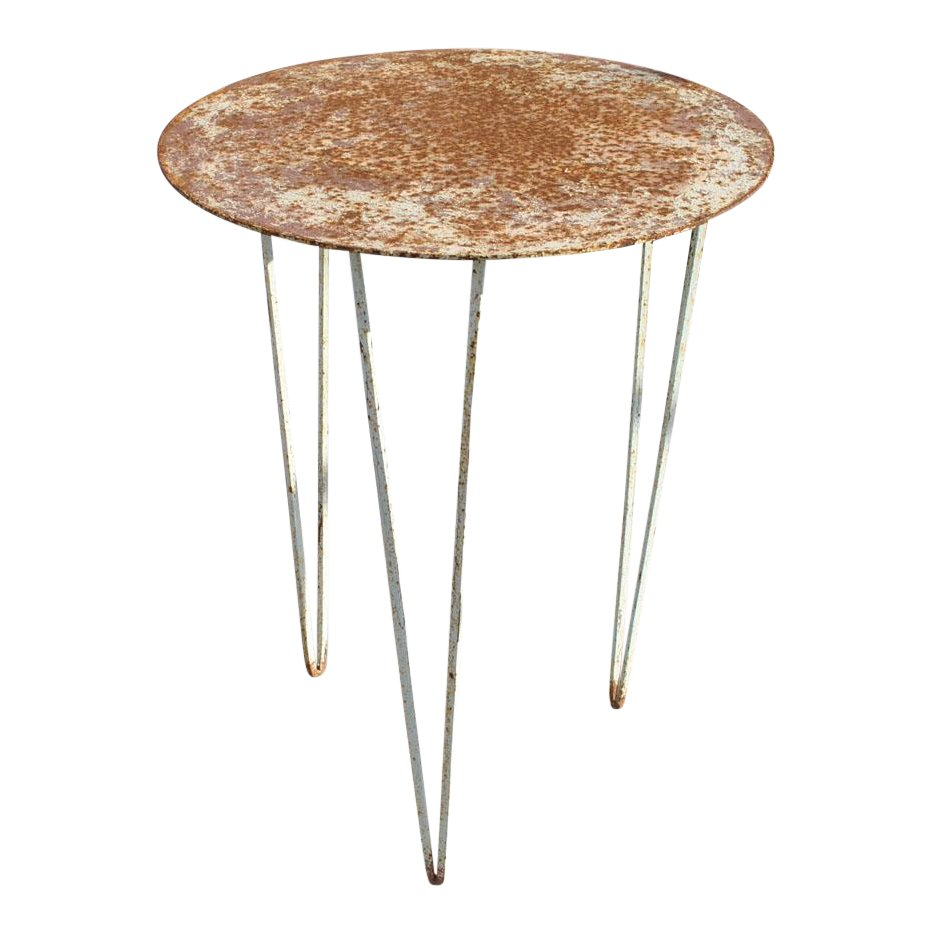 vintage metal outdoor side table chairish pottery barn high top white tray ashley furniture company teak garden solid pine coffee glass and tables wood for transition trim hampton