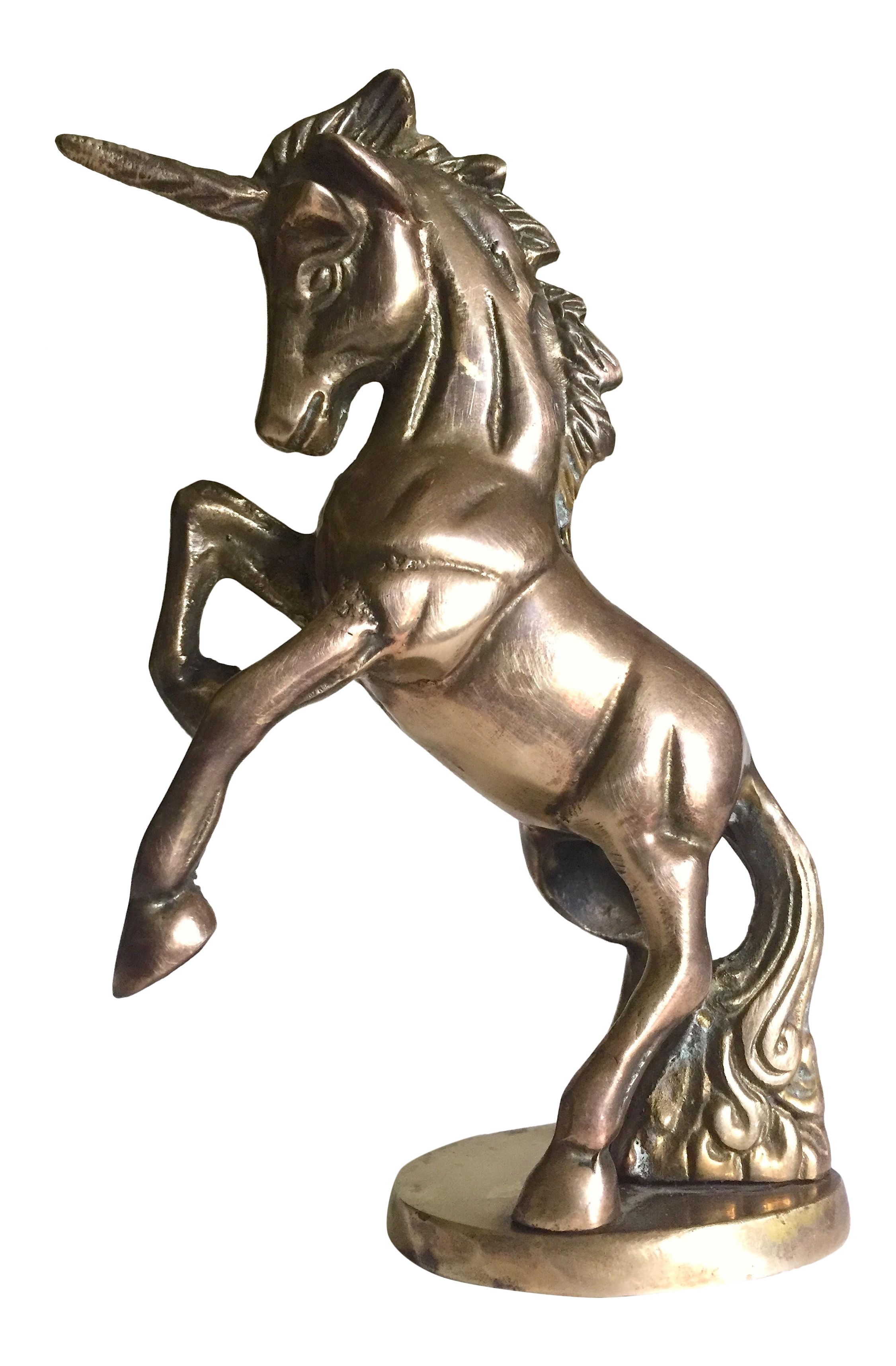 vintage mid century modern cast solid brass mythological unicorn figurine sculpture accent table chairish balcony chairs tall marble side round glass coffee wood bases unstained