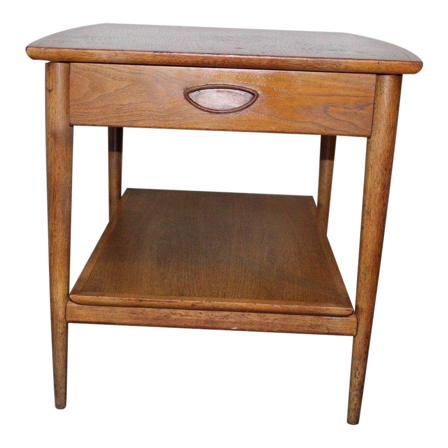 vintage mid century modern heritage henredon one drawer wooden end table small triangle accent chairish glass front cabinet nic umbrellas living room furniture sets butler tray