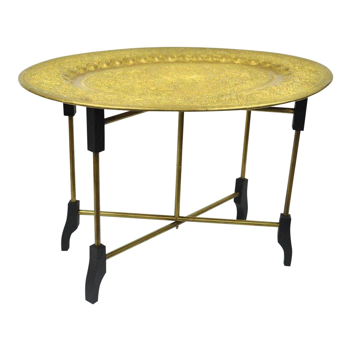 vintage mid century moroccan brass tray top folding small coffee accent table with chairish circular glass side handmade wood end tables mercury lamp turquoise bedside lamps white