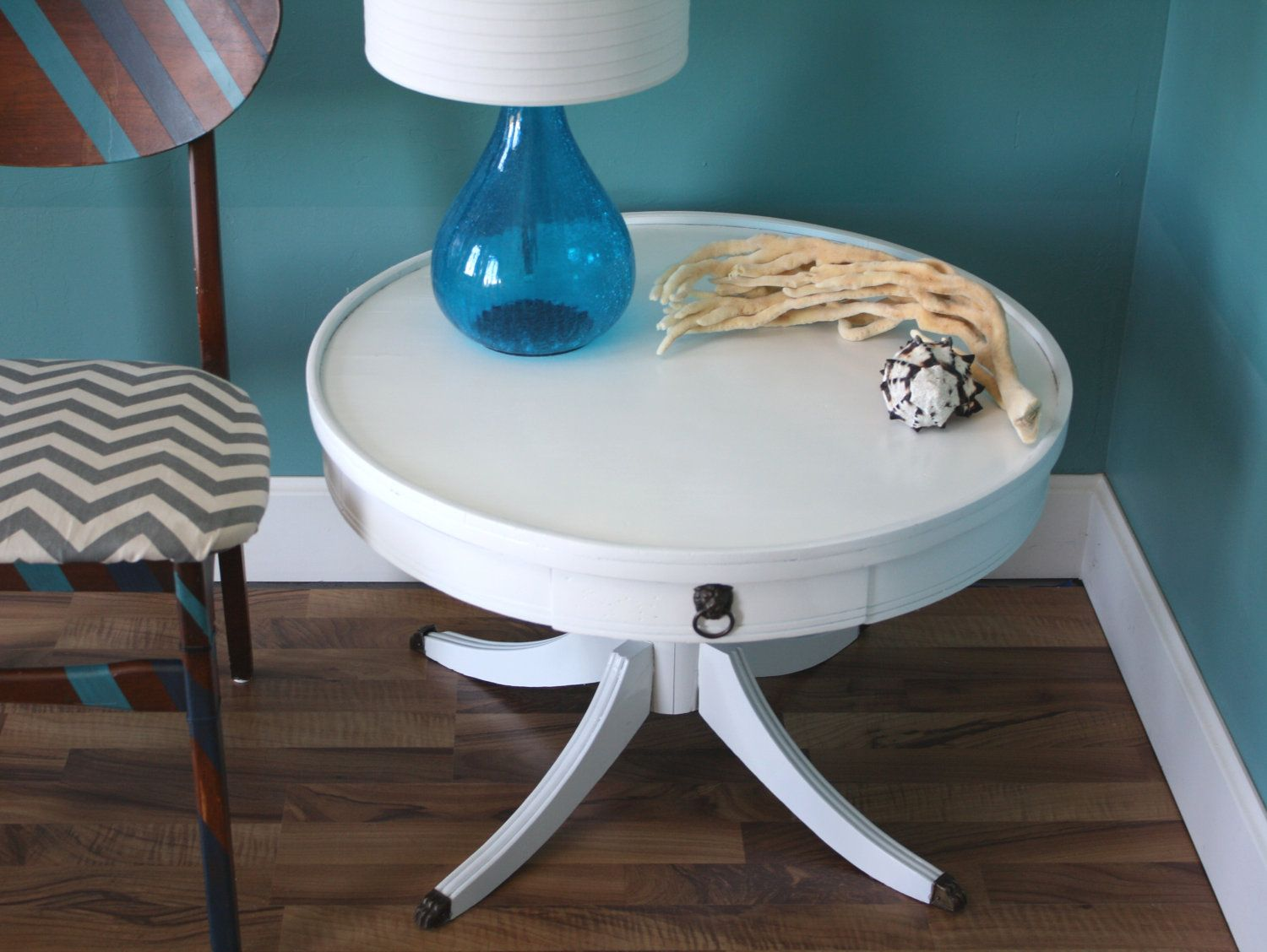 vintage modern round white accent table gloss bronze feet via etsy mosaic top dining uttermost tables west elm abacus lamp marble cube side thin entryway black metal outdoor end