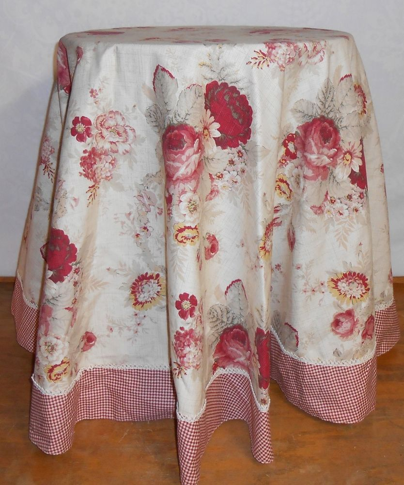 vintage norfolk rose gingham waverly round tablecloth accent floral red metal top end table outdoor garden glass lamp shades bedroom side drawers holiday runner low coffee with