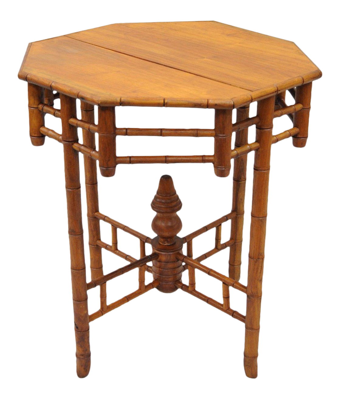 vintage octagonal oriental english victorian style faux bamboo side table teak wood end tables chairish grain chopping board black and white round coffee drum accent coastal