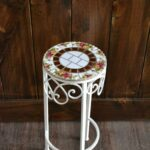 vintage old english roses broken mosaic accent table etsy metal square teak coffee corner cabinet dining room rectangle with storage small deck astoria chair retro style side 150x150