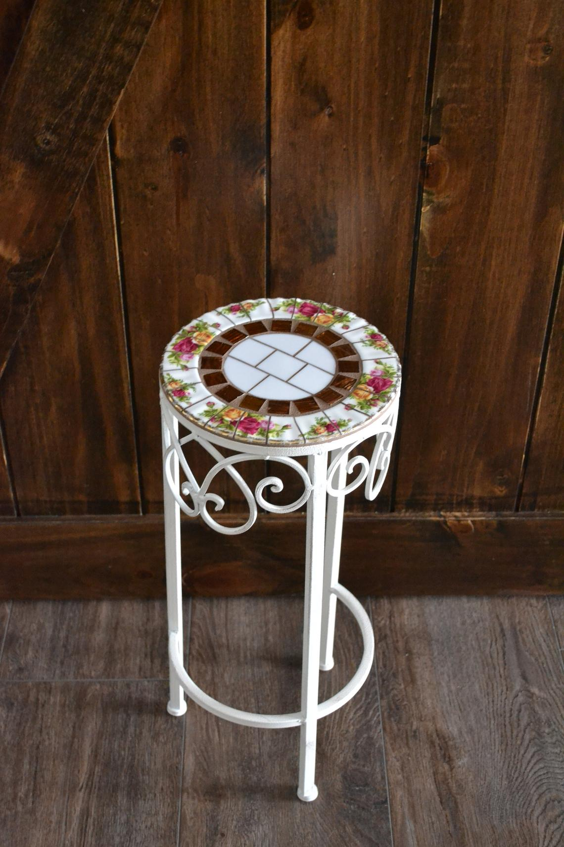vintage old english roses broken mosaic accent table etsy metal square teak coffee corner cabinet dining room rectangle with storage small deck astoria chair retro style side