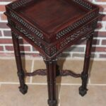 vintage ornate carved wooden side table end accent display stand asian square outdoor coffee nautical themed chandelier little round wood tops black marble top target furniture 150x150