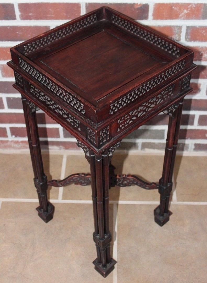vintage ornate carved wooden side table end accent display stand asian square outdoor coffee nautical themed chandelier little round wood tops black marble top target furniture