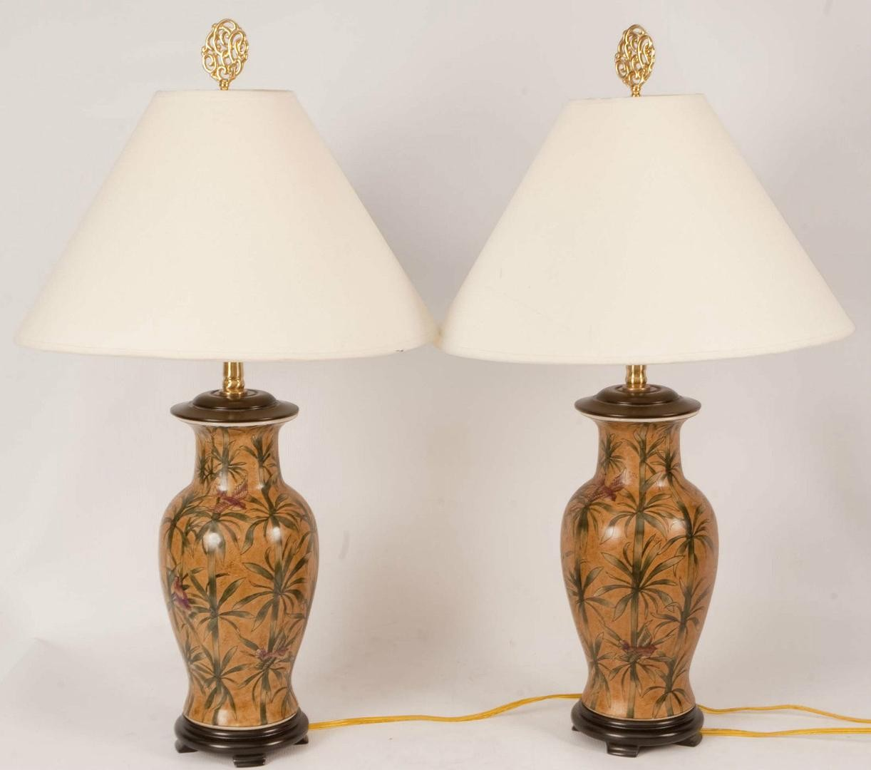 vintage pair chinese oriental accent hand painted table lamps leather dining chairs kitchen and marble high top small square end oak side with shelf outdoor drum black steel legs