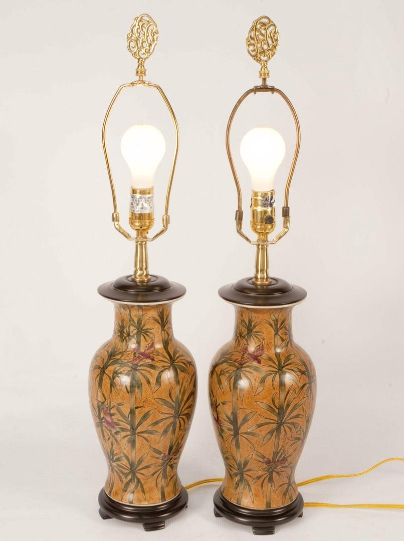 vintage pair chinese oriental accent hand painted table lamps next chest cupboard gold console small square end ashley loveseat grey metal side contemporary dining furniture floor