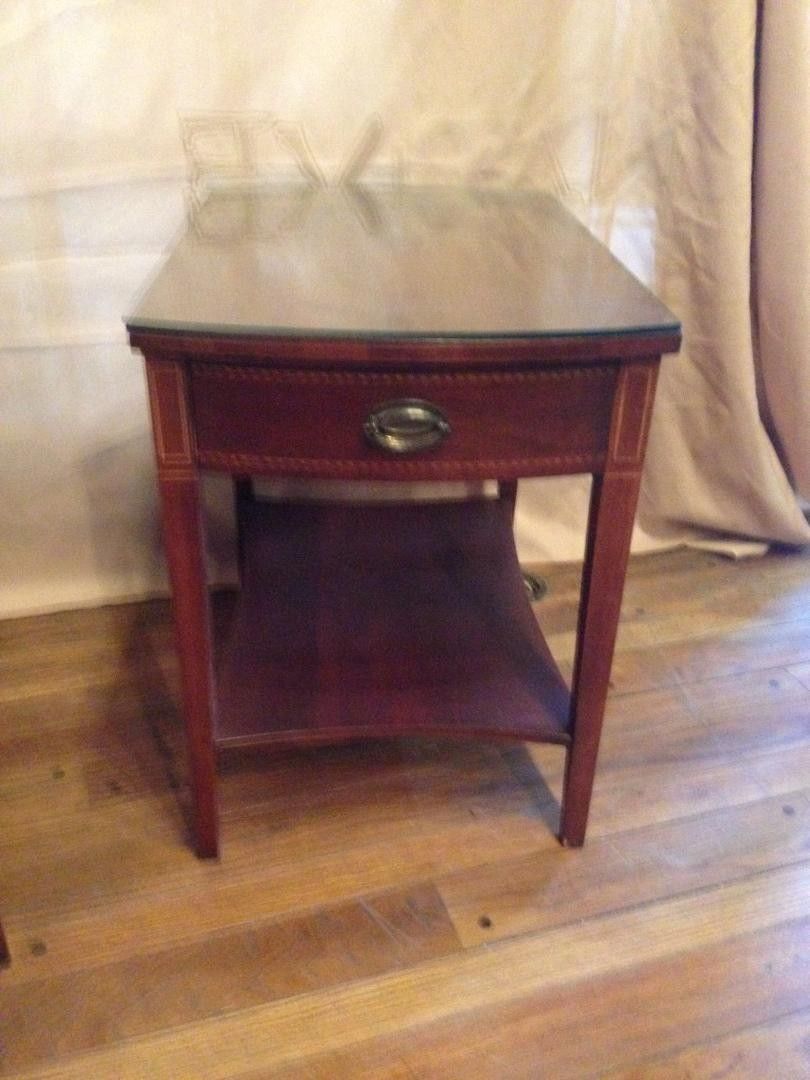 vintage pair mersman mahogany wood side accent table drawer shelf diy end plans distressed white battery operated lamps target bedside west elm parsons coffee pier and chairs drum