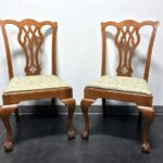 vintage quartersawn tiger oak chippendale ball claw dining accent side chairs pair boyds fine furnishings furniture chair with storage marble top end tables antique white chest 150x150