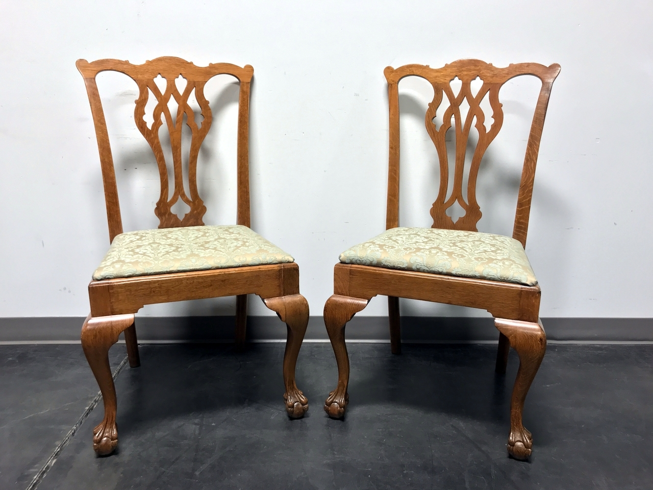 vintage quartersawn tiger oak chippendale ball claw dining accent side chairs pair boyds fine furnishings furniture chair with storage marble top end tables antique white chest