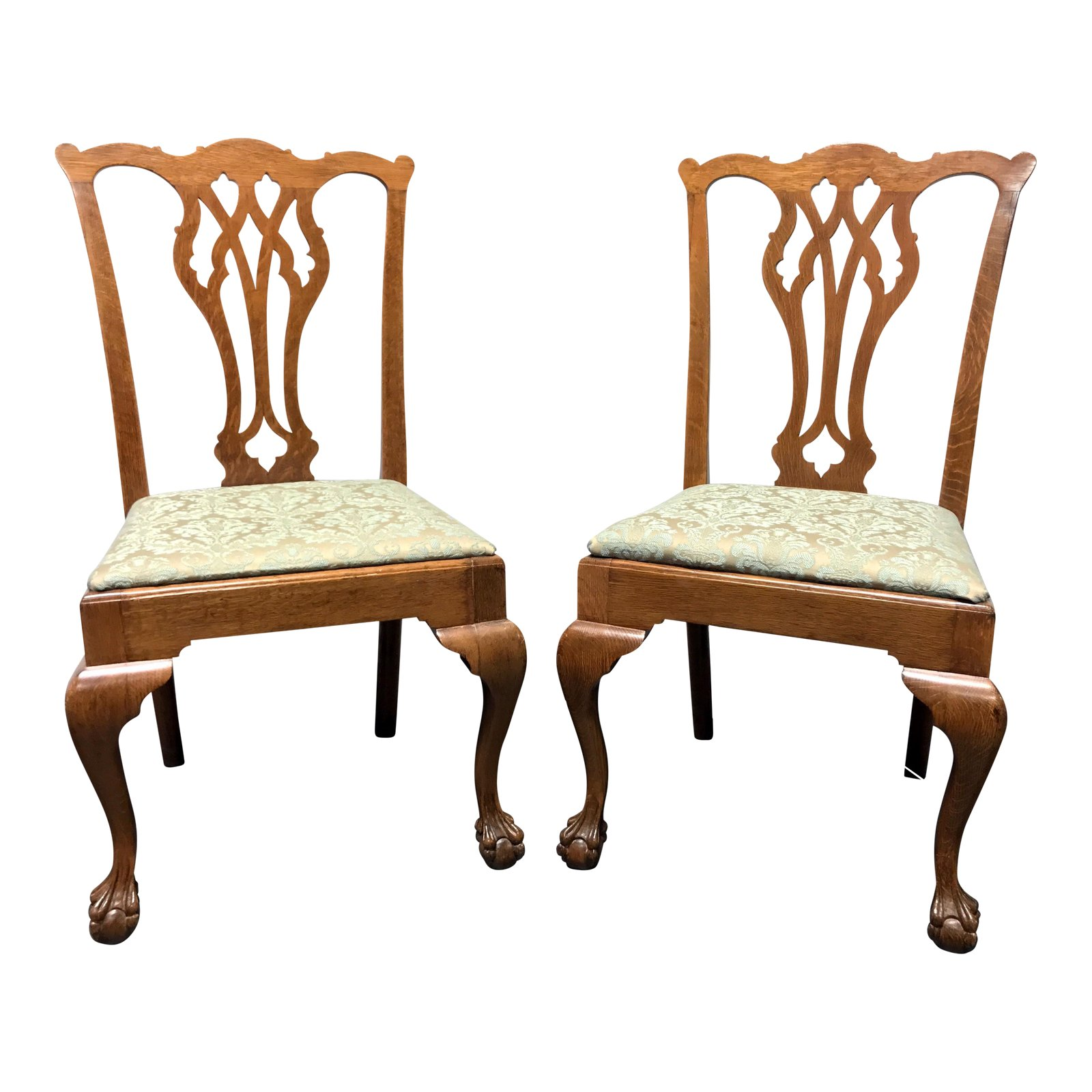vintage quartersawn tiger oak chippendale ball claw dining accent side chairs pair furniture chairish vinyl placemats round coffee table with drawers tables metal garden malm