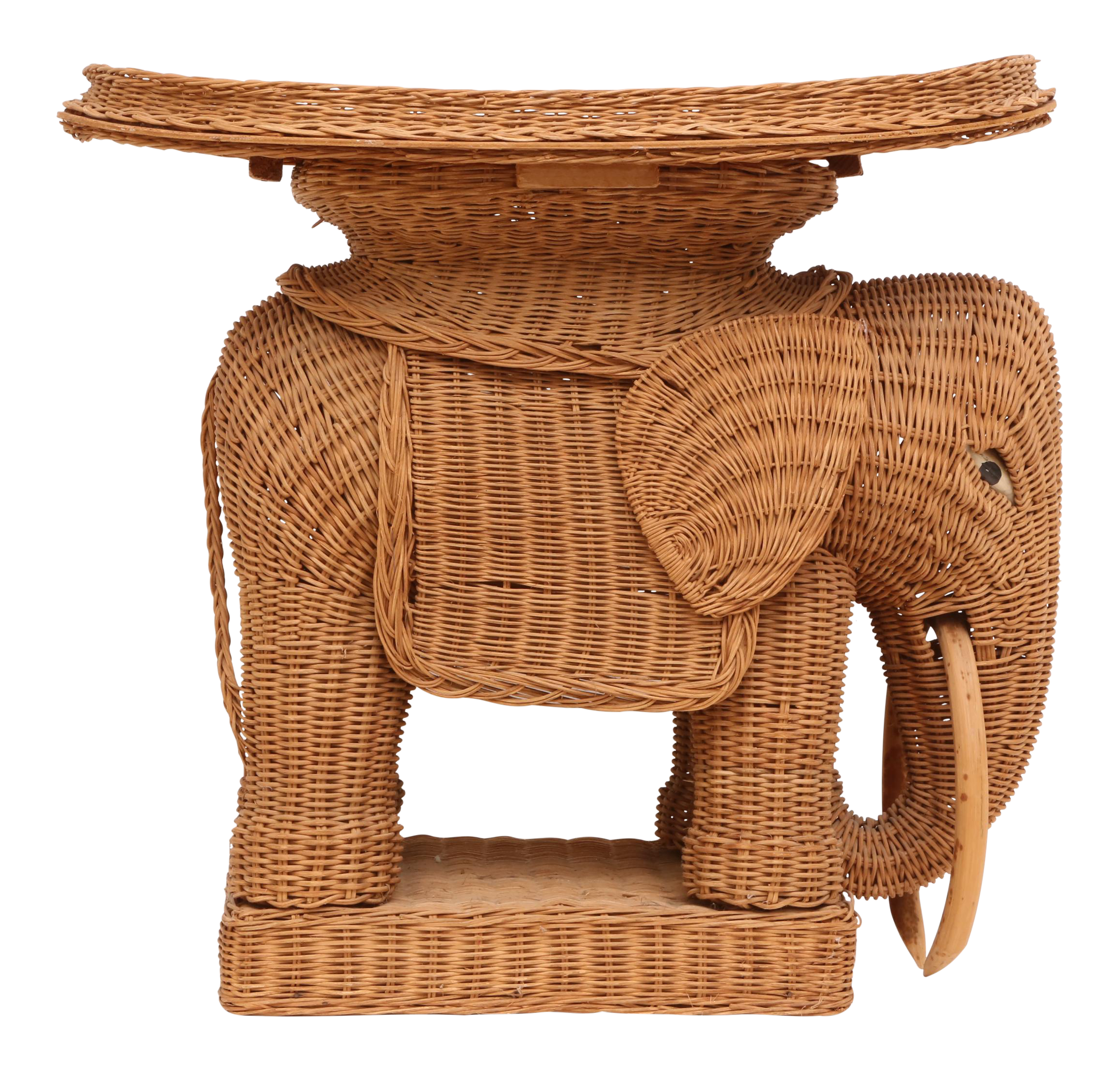 vintage rattan wicker elephant side table chairish foldable accent brown bistro height console chest ashley furniture coffee set mirrored couch patio clearance butler specialty