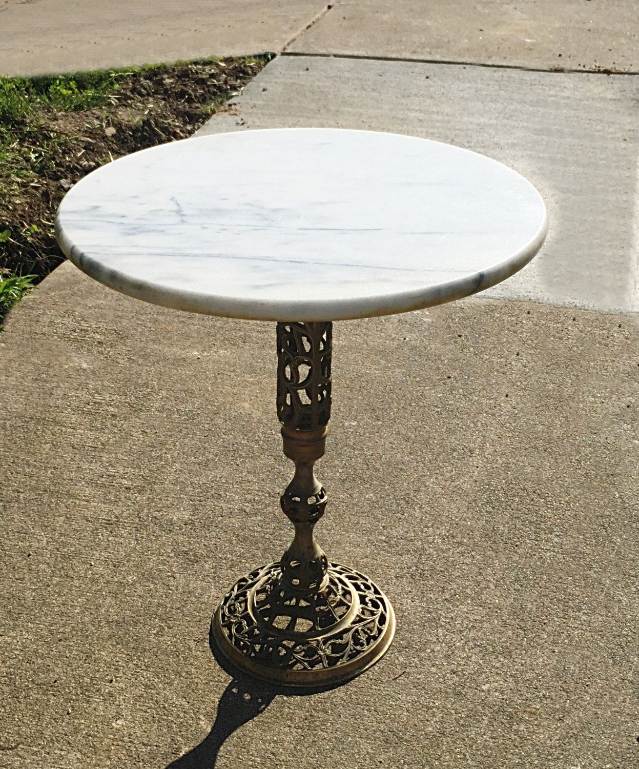 vintage regency marble top table solid brass base excellent side antique gold faceted accent with glass plant stand hallway cutout italian barn door white piece coffee set cloth