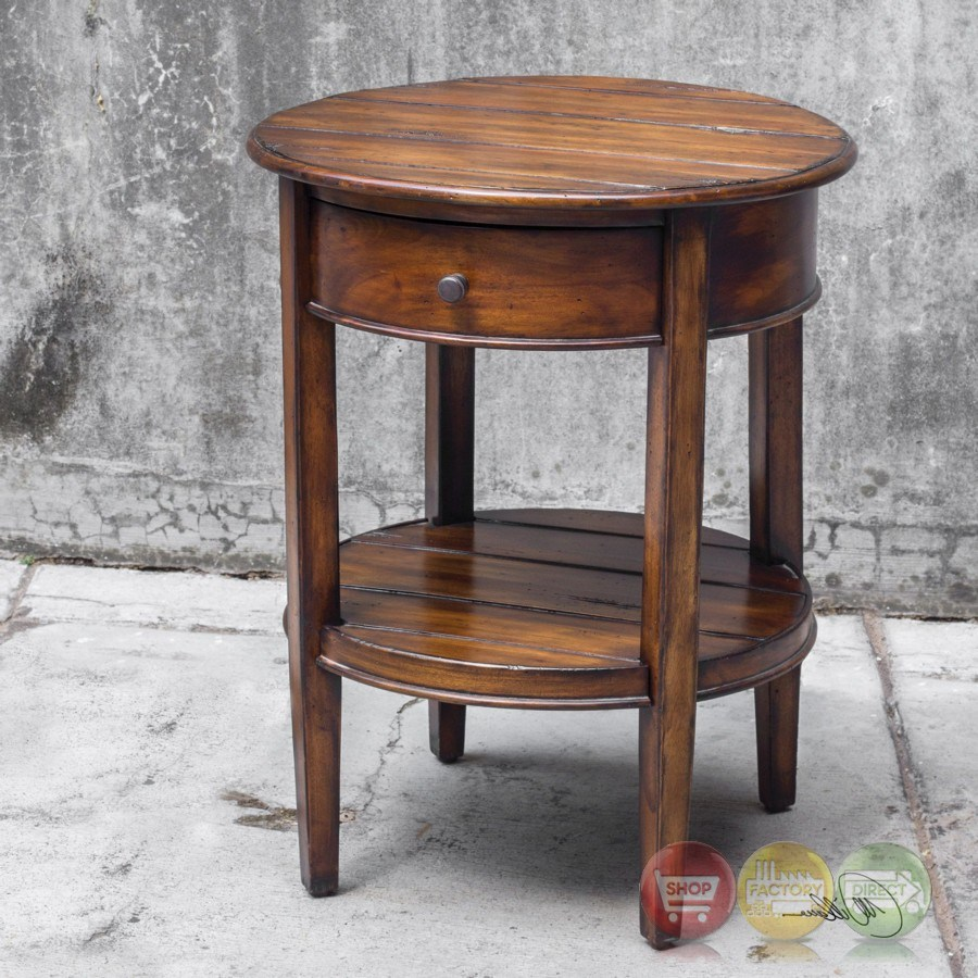 vintage round accent table drawer ranalt deep grained mahogany with antiqued brass pulls screened gazebo ikea small kitchen and chairs glass top end tables metal from pier one