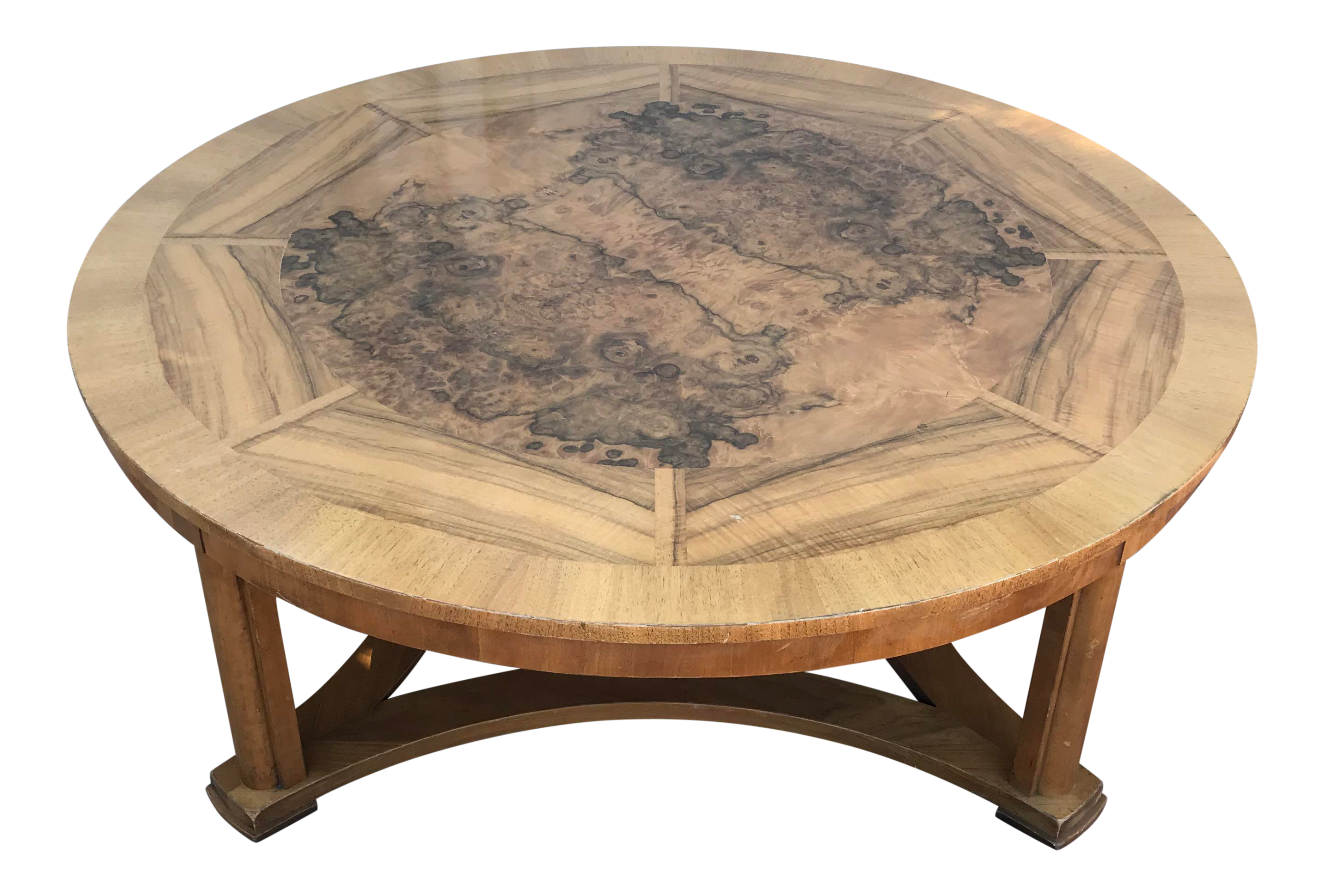 vintage round burl wood coffee table baker furniture chairish accent small kitchen chairs outdoor tablecloth square glass garden end target bedside lamps door stopper floor
