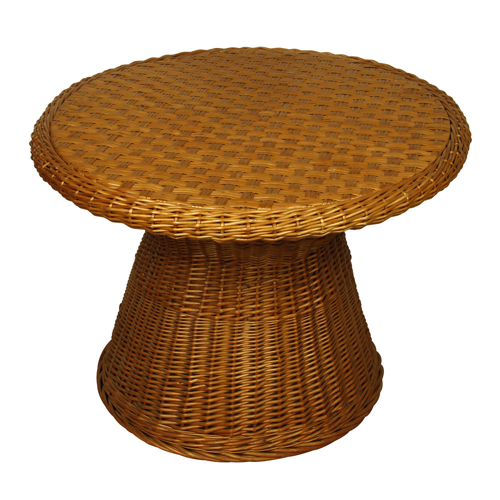 vintage round wicker side table meg braff outdoor brown kade accent large dining copper lamp dale tiffany dragonfly lily vanity unit with basin modern drawer antique green pier