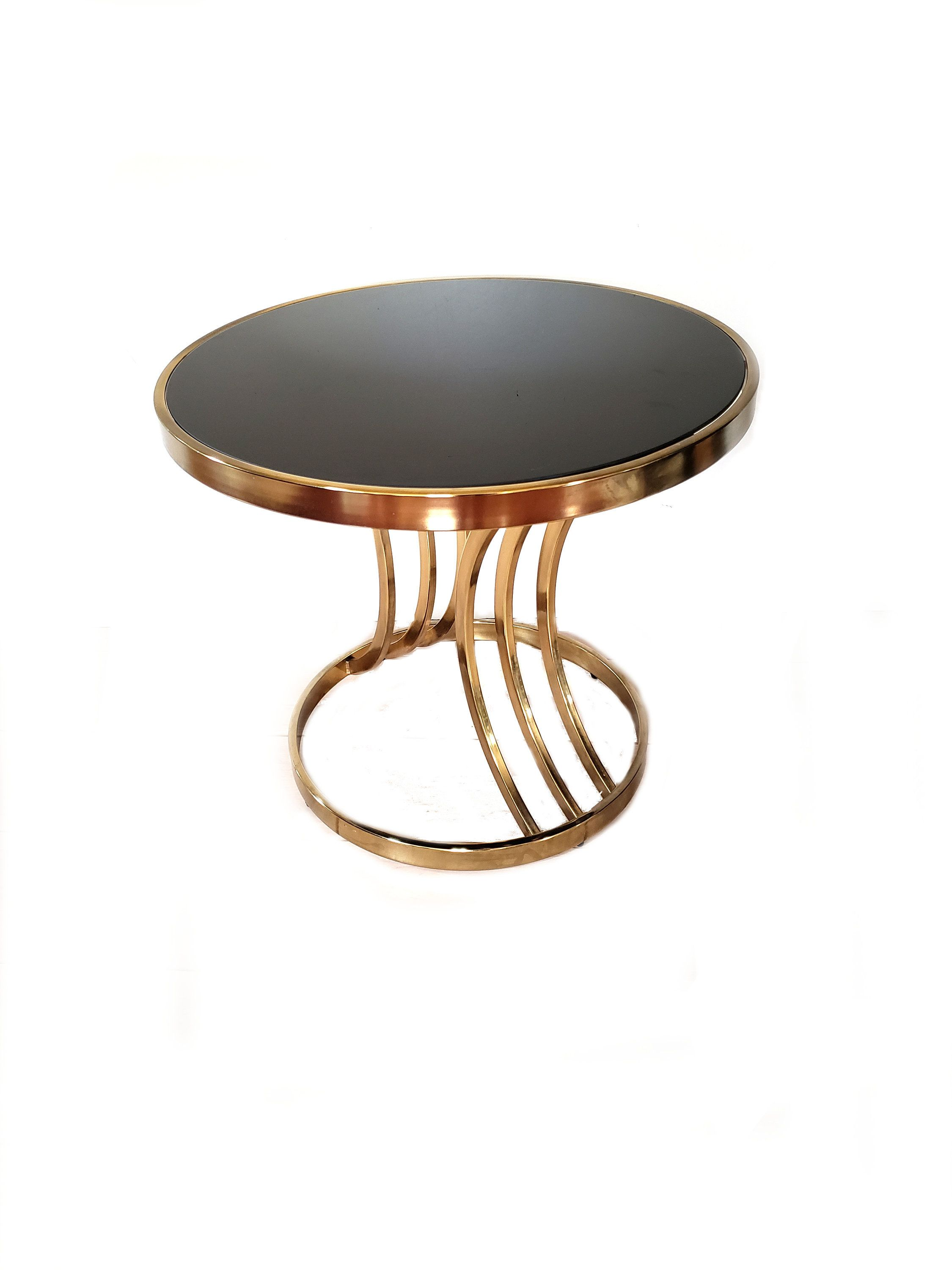 vintage side table accent end dia design round institute america brass and smoked glass hollywood regency kitchenette furniture winsome safavieh couture koncept lighting antique