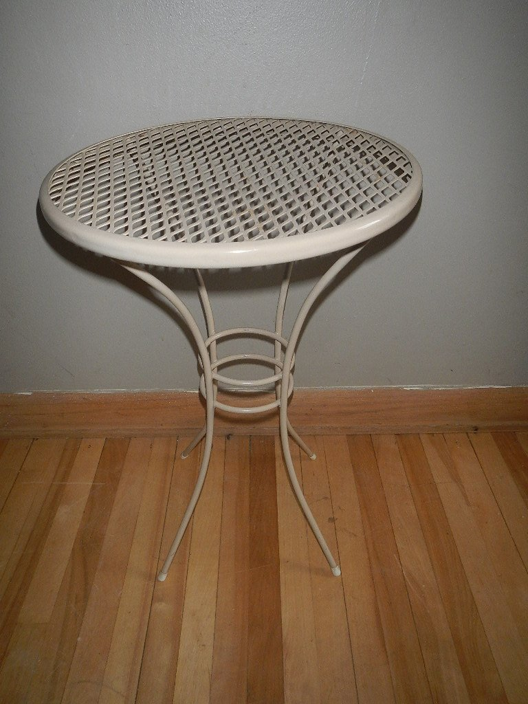 vintage small round metal patio table side end concrete outdoor cover unique foyer tables gray trestle dining nesting ikea wooden storage crates room and chairs threshold gold