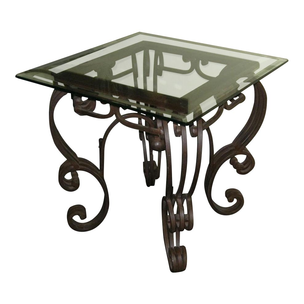 vintage spanish style wrought iron glass top end table chairish patio accent home theater furniture outside side tables small coffee designs corner white bedside bar height with