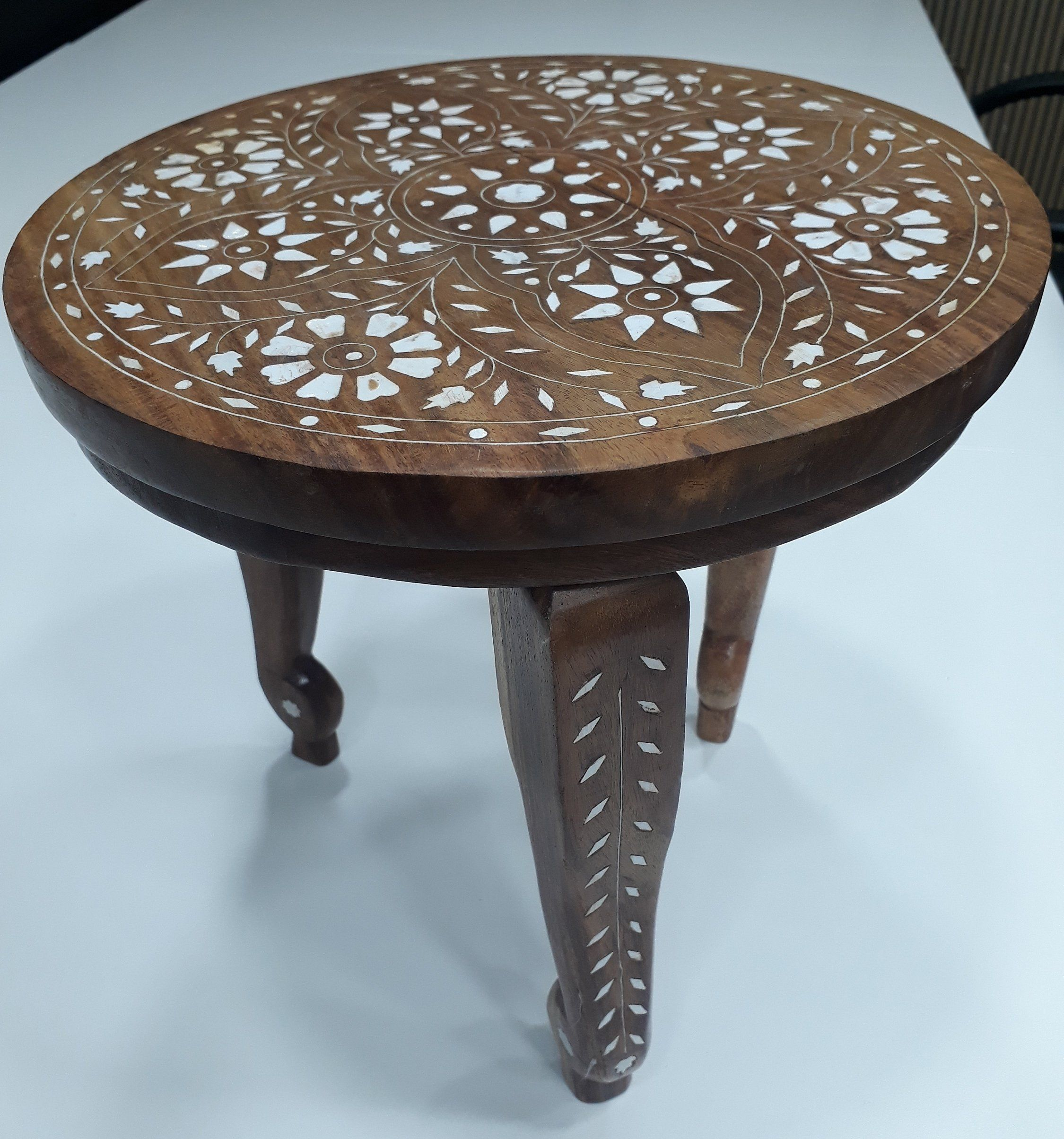 vintage table small wooden side decor end accent inlaid oriental living glass top patio dining with stools painted cabinets home interiors catalog wicker basket half circle