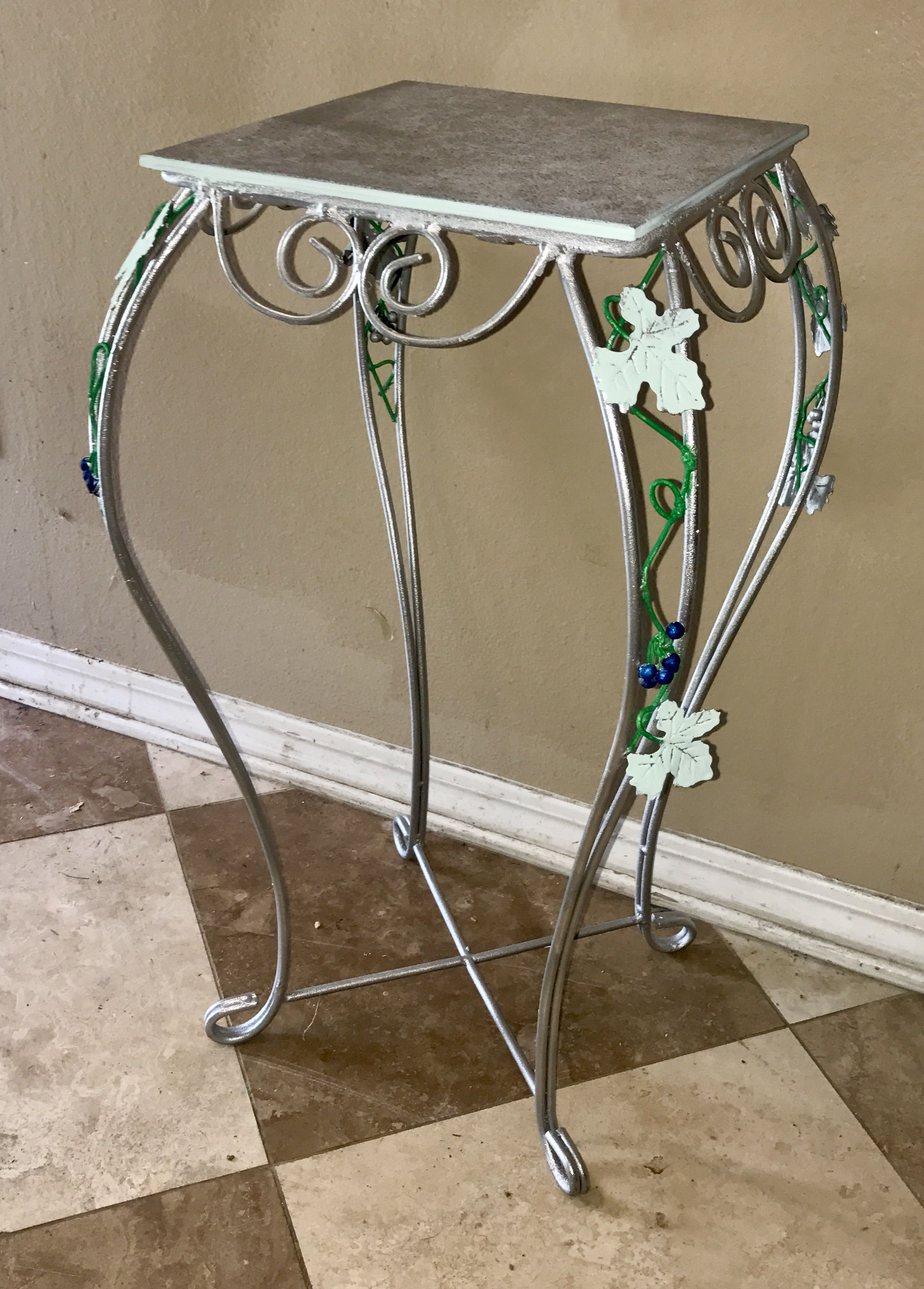 vintage tall metal silver accent table planter tile top extra leaf vine design pottery barn farm tables and chairs simple plans pier vases decorative storage cabinets handmade