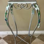 vintage tall metal silver accent table planter tile top leaf painted vine design inexpensive house decor white drum childrens bedside small chest floor separator conversation sets 150x150