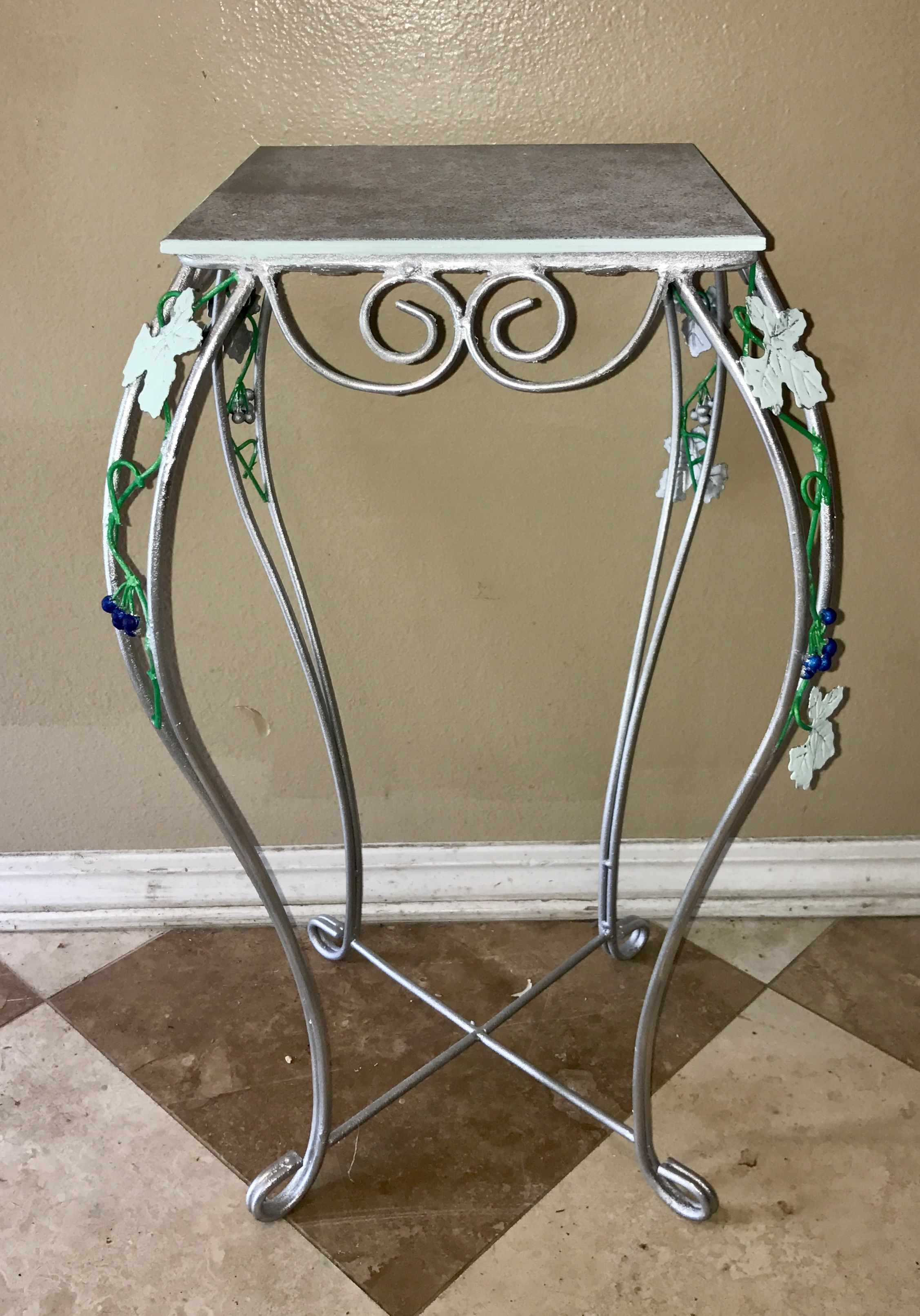 vintage tall metal silver accent table planter tile top leaf painted vine design inexpensive house decor white drum childrens bedside small chest floor separator conversation sets